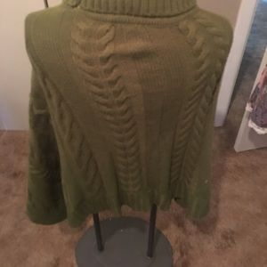Anna & Ava Sweaters - Army green cable knit poncho
